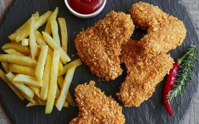 Pollo empanizado con avena