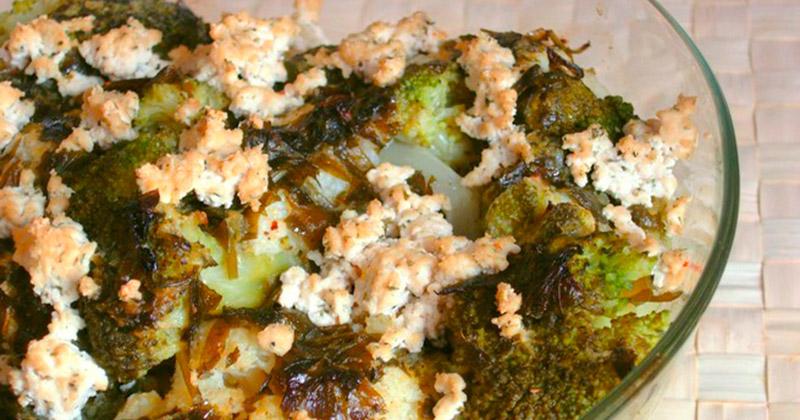 Brócoli y coliflor en salsa de hierbas