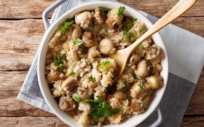 Arroz con quinoa y champiñones